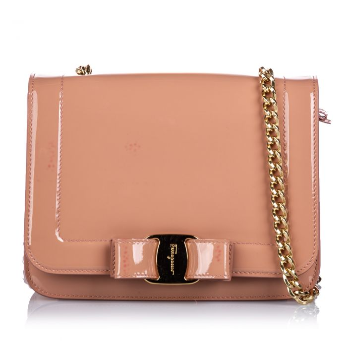 Image for Vintage Ferragamo Patent Leather Vara Bow Crossbody Bag Pink