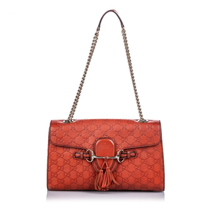 Image for Vintage Gucci Guccissima Leather Emily Shoulder Bag Red