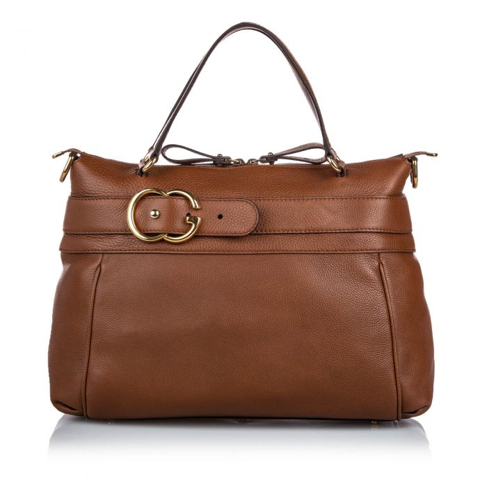 Image for Vintage Gucci Leather Ride Satchel Brown