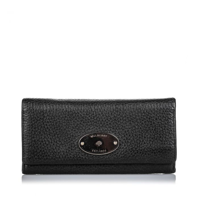 Image for Vintage Mulberry Leather Long Wallet Black