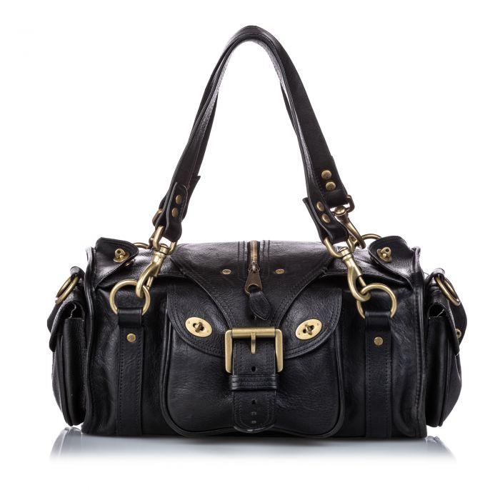 Image for Vintage Mulberry Leather Shoulder Bag Black