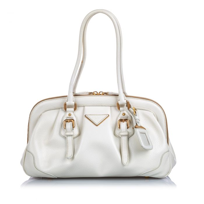 Image for Vintage Prada Cinghiale Frame Shoulder Bag White