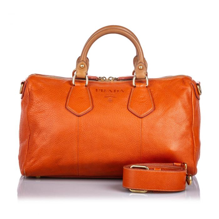 Image for Vintage Prada Vitello Daino Satchel Orange