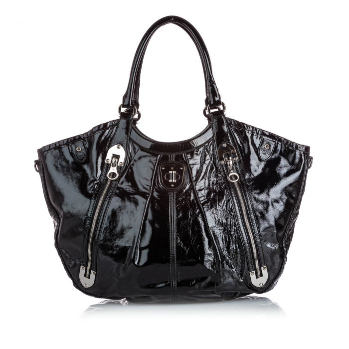 Image for Vintage Alexander McQueen Patent Leather Tote Bag Black