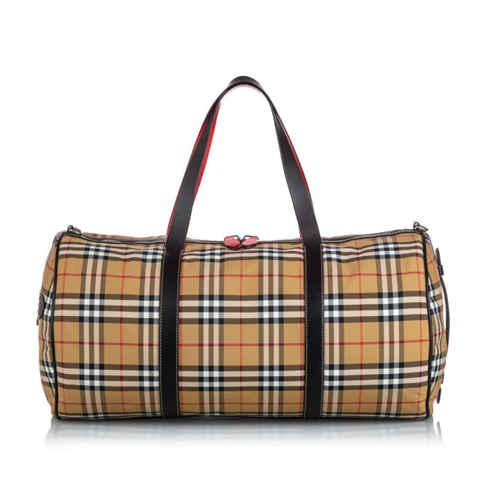 Image for Vintage Burberry House Check Canvas Barrel Bag Brown