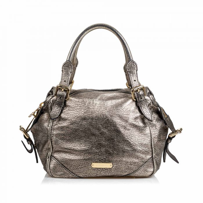 Image for Vintage Burberry Metallic Leather Oakford Silver