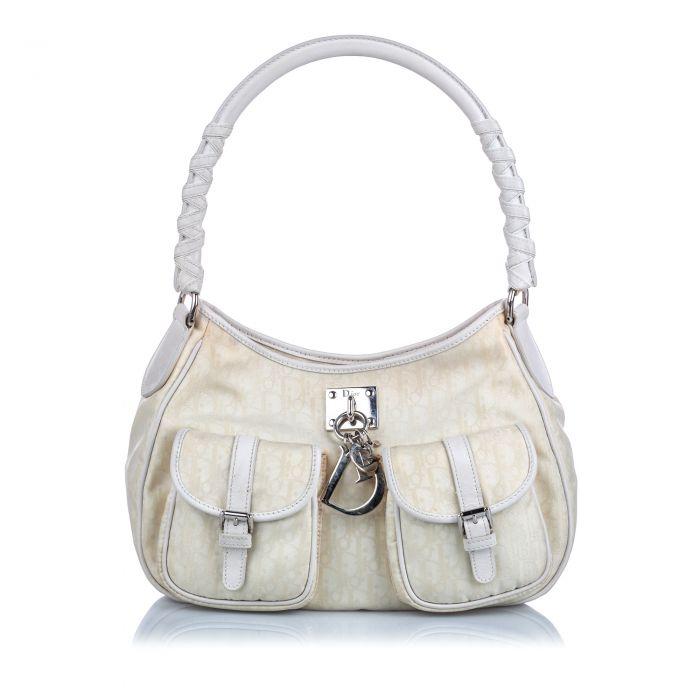Image for Vintage Dior Dior Oblique Canvas Lovely Shoulder Bag White