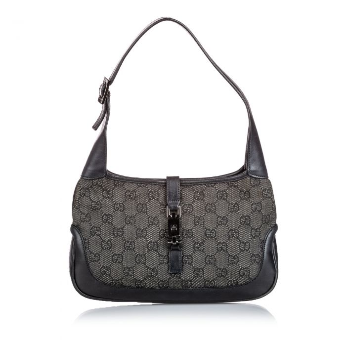 Image for Vintage Gucci GG Denim Jackie Shoulder Bag Gray