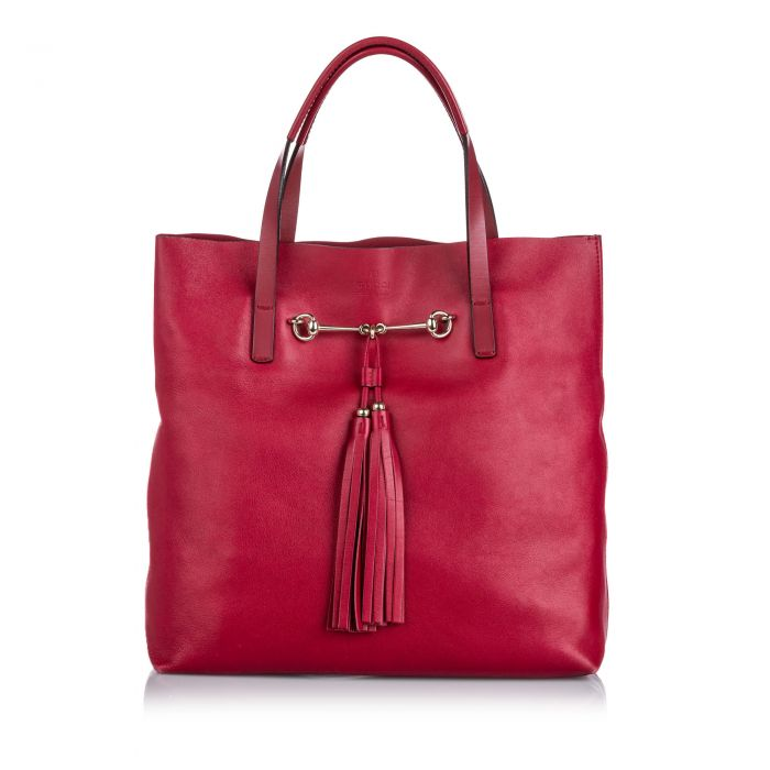 Image for Vintage Gucci Small Leather Park Avenue Horsebit Tote Red