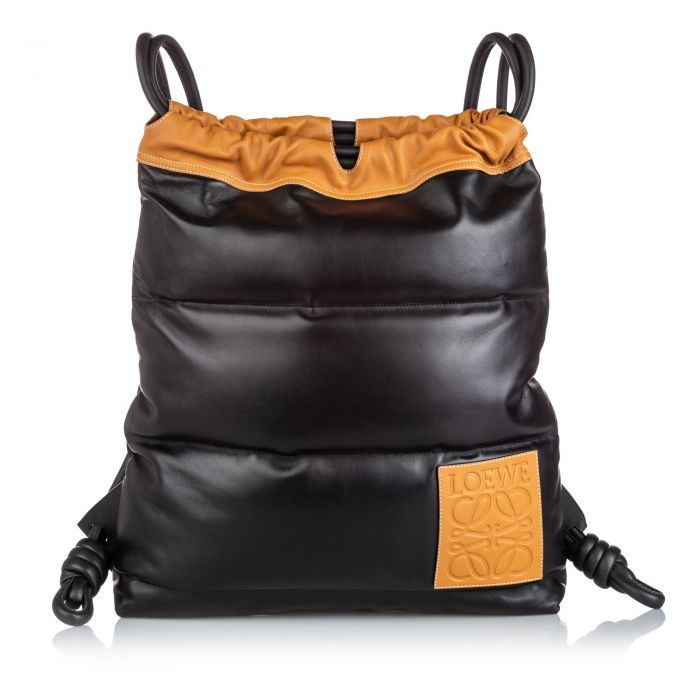 Image for Vintage Loewe Leather Yago Puffy Backpack Black
