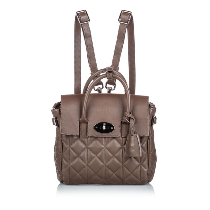 Image for Vintage Mulberry Quilted Cara Delevigne Backpack Brown