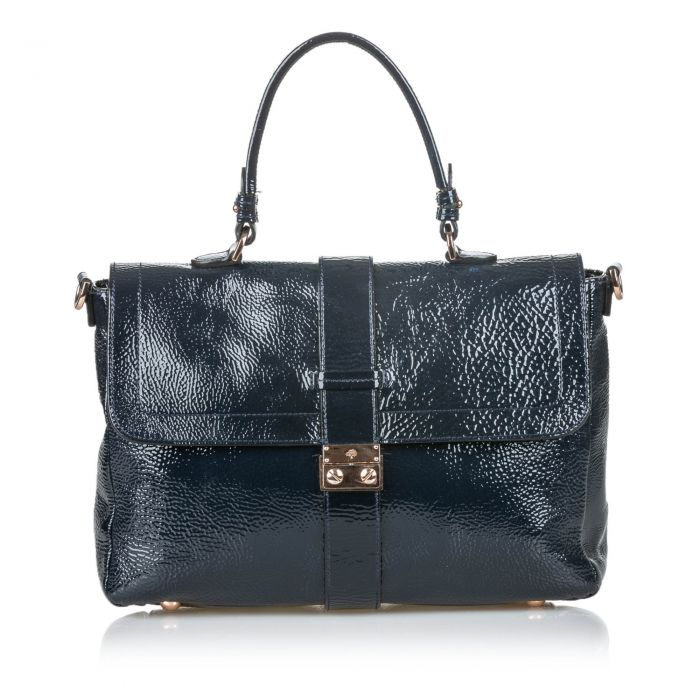 Image for Vintage Mulberry Patent Leather Harriet Satchel Black