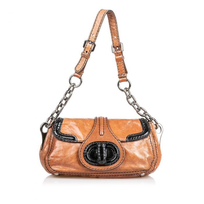 Image for Vintage Prada Leather Shoulder Bag Brown