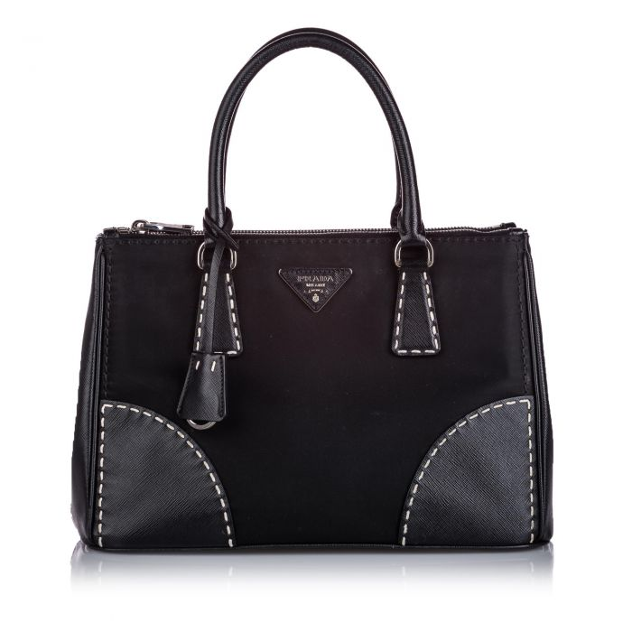 Image for Vintage Prada Nylon Lux Galleria Satchel Black