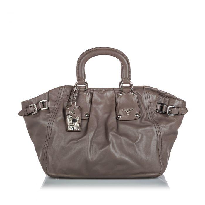 Image for Vintage Prada Leather Satchel Gray