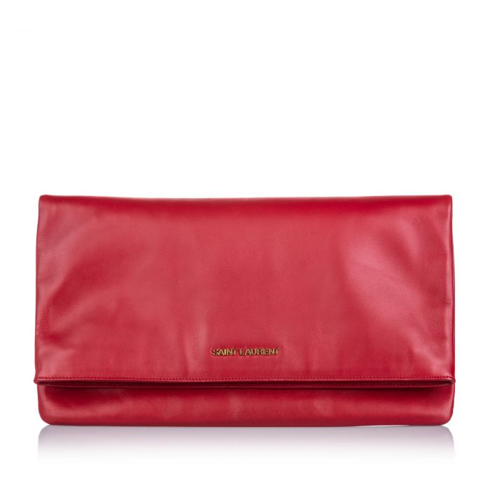 Image for Vintage YSL Leather Fold Over Clutch Bag Red