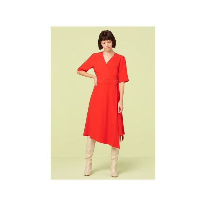 Image for Hettie Red Asymmetric Wrap Dress - Red