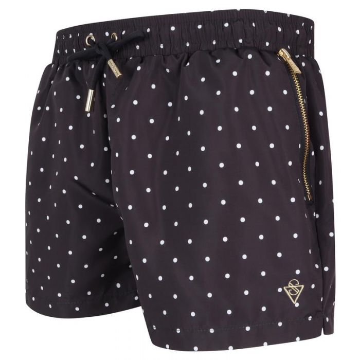 Image for Signature Midnight Blue Polka Dot Swim Shorts with Gold Detailing