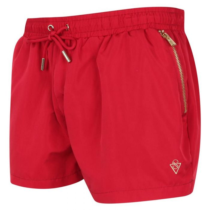 Image for Signature Bermuda Red Swim Shorts with Gold Detailing