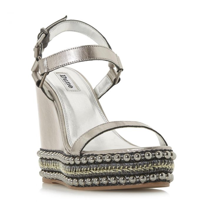 Image for Dune Ladies KIBBLE Studded High Wedge Two Part Sandal