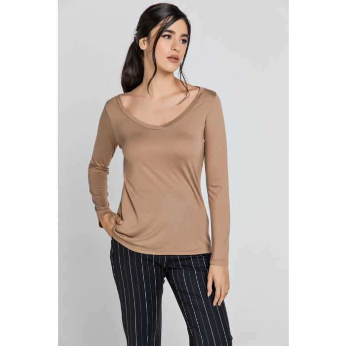 Image for Light Brown V Neck Top