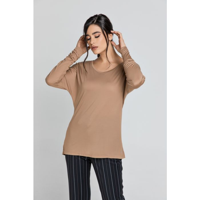 Image for Light Brown Top with Long Batwing Sleeves