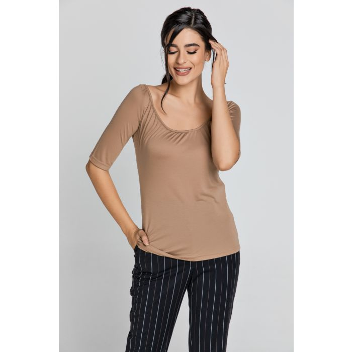 Image for Short Sleeve Light Brown Top