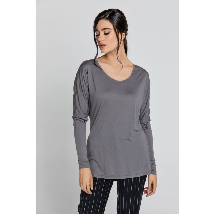 Image for Dark Grey Top with Long Batwing Sleeves