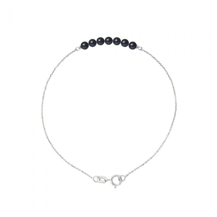 Image for DIADEMA - Bracelet - 7 Real Freshwater Pearls - Black Tahitian Style - Cable Chain in White Gold