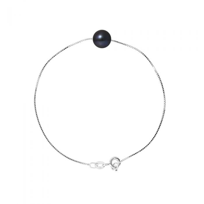 Image for DIADEMA - Bracelet - Real Freshwater Pearls - Black - White Gold