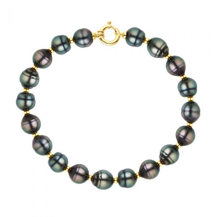 Image for DIADEMA - Bracelet - Real Tahitian Pearls - Rainbow - Yellow Gold