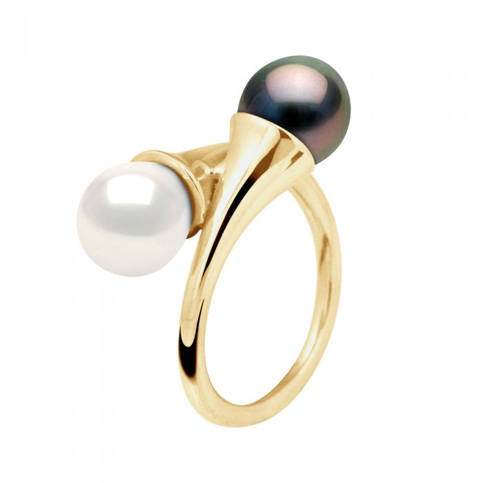 Image for DIADEMA - Ring You & Me in Yellow Gold - Real Freshwater Pearls and Tahitian Pearls - White
