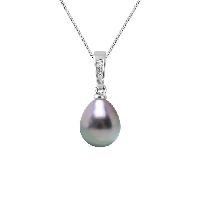 Image for White gold and tahitian pearl pendant