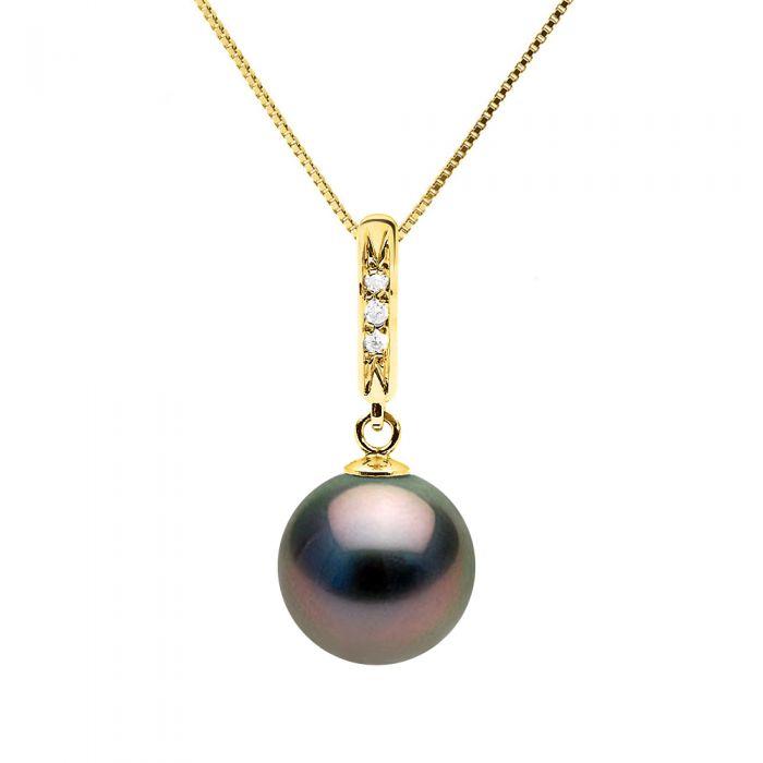 Image for DIADEMA - Necklace - Diamonds - Tahitian Pearl - Yellow Gold