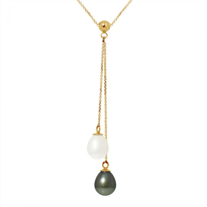 Image for DIADEMA - Necklace - You & Me - 2 Real Freshwater Pearls and Tahitian Pealrs - Yellow Gold