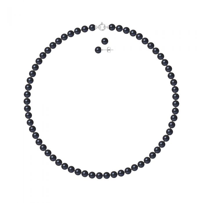 Image for DIADEMA - Set - Necklace/Earrings - Real Freshwater Pearls - Black Tahitian Style - White Gold