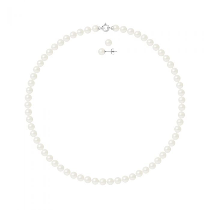Image for DIADEMA - Set - Necklace/Earrings - Real Freshwater Pearls - White Gold