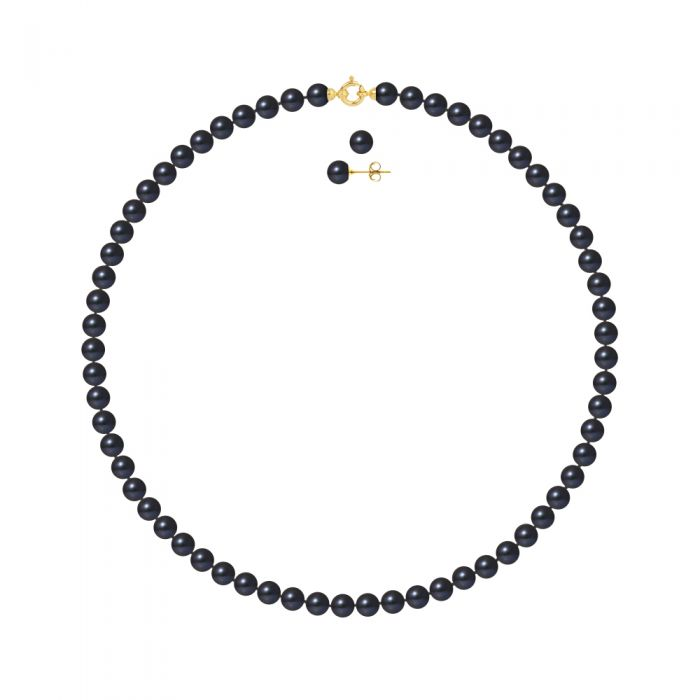 Image for DIADEMA - Set - Necklace/Earrings - Real Freshwater Pearls - Black Tahitian Style - Yellow Gold