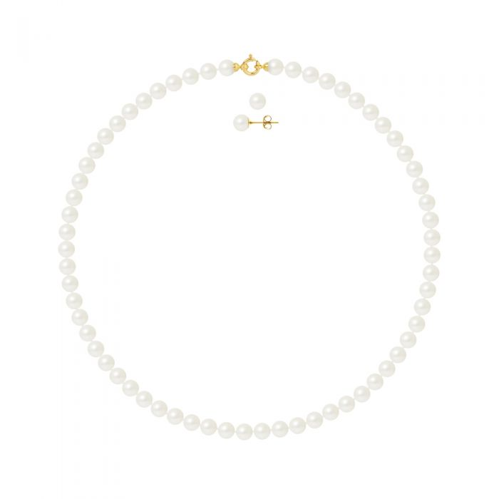 Image for DIADEMA - Set - Necklace/Earrings - Real Freshwater Pearls - Yellow Gold