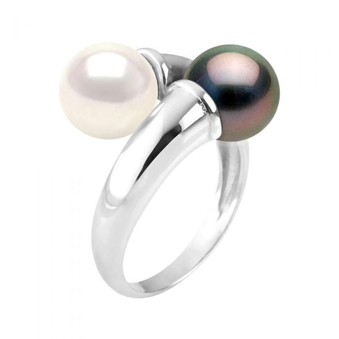 Image for Black and white dual-pearl ring