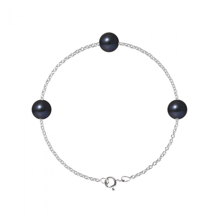 Image for DIADEMA - Bracelet - Silver and 3 Real Freshwater Pearls - Black Tahitian Style