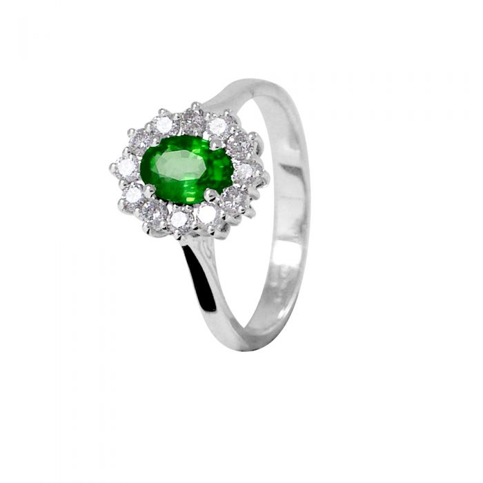 Image for White gold 0.85ct emerald and 0.36ct diamond ring