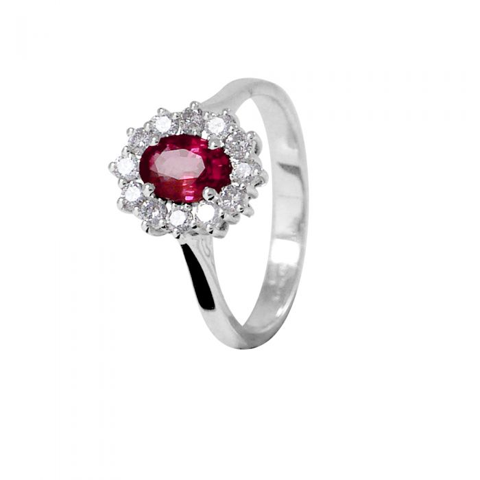 Image for White gold 0.95ct ruby and 0.36ct diamond ring