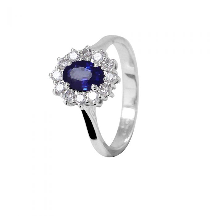 Image for White gold 1.00ct sapphire and 0.36ct diamond ring