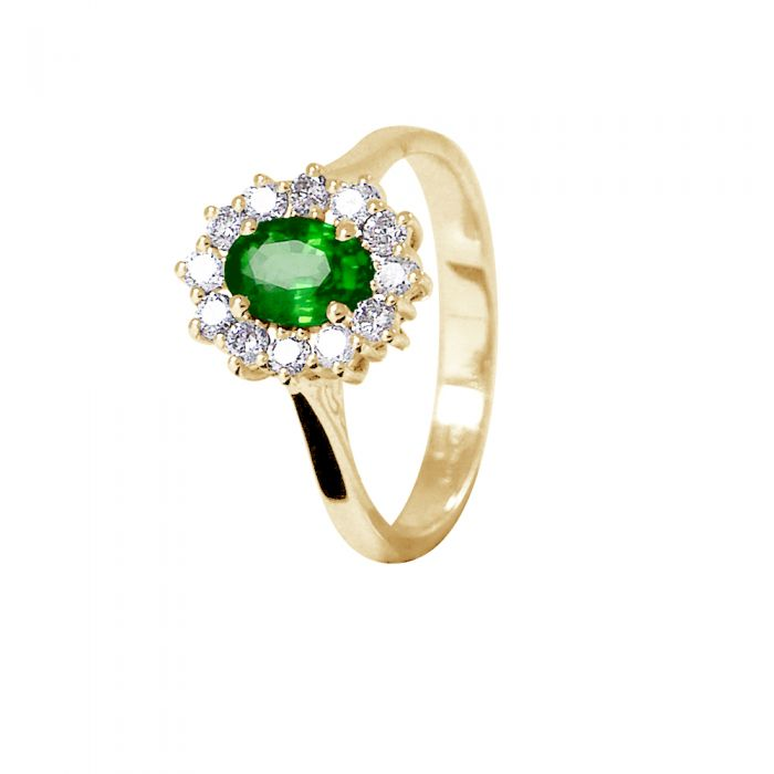 Image for Yellow gold emerald and diamond ring
