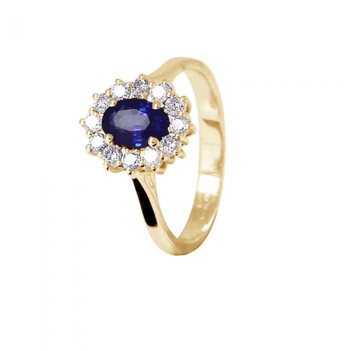 Image for Yellow gold sapphire and diamond ring