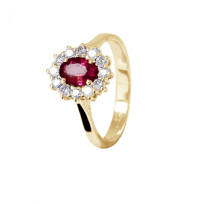 Image for Yellow gold 0.95ct ruby and 0.36ct diamond ring