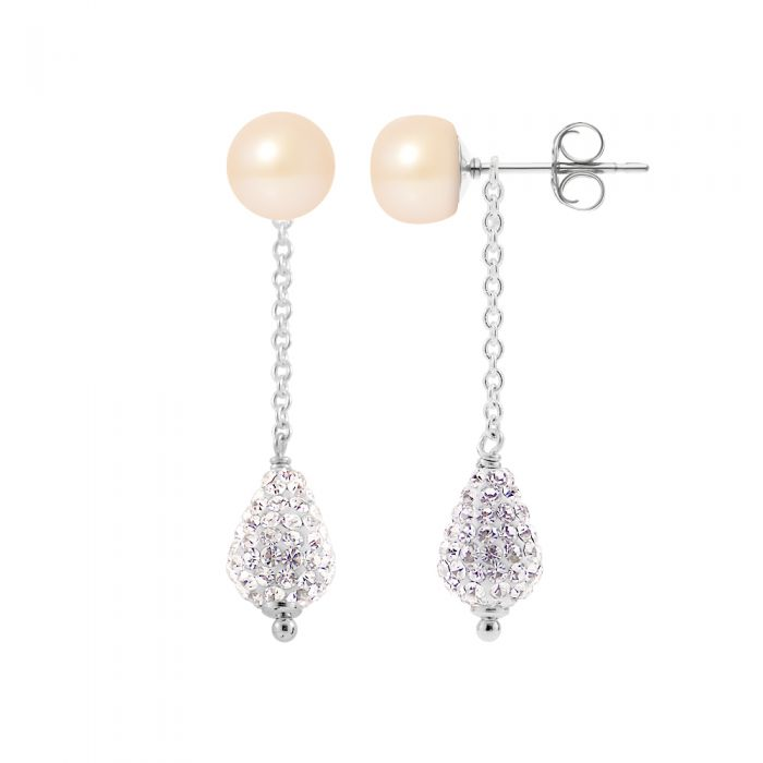 Image for Crystal white pearl earrings