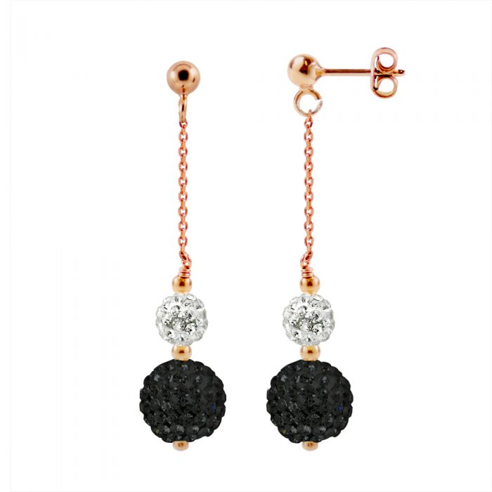 Image for Crystal white rose gold-plated drop earrings