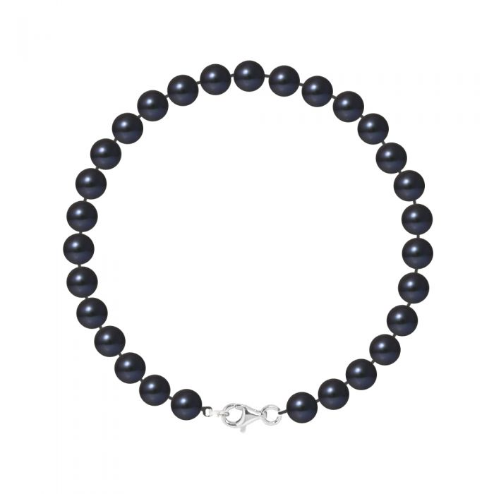 Image for DIADEMA - Bracelet - Real Freshwater Pearls - Black Tahitian Style - Silver